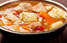 Pork stew consists of pieces of pork and vegetables.