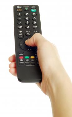 TV remote control with an infrared beam.