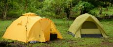 Trekking gear may consist of tents.