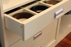 Slotted drawers help improve organization.