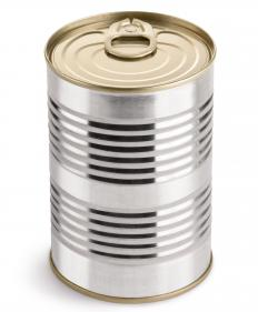 A can of evaporated milk, which is made through vacuum evaporation.