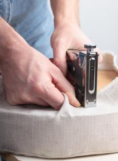 Staple guns may be used on upholstery projects, including headboards.