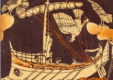 "Odysseus encounters the Lotus Eaters in Homer's ""Odyssey."""