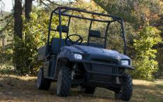 A UTV, or utility task vehicle, looks like a golf cart, but is more rugged and can carry heavier loads.