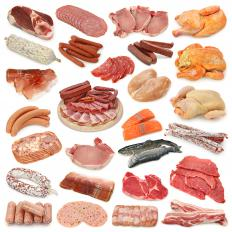 Various types of meat, including both white and dark meat.