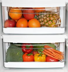 A refrigerator thermometer can be used to spot check the temperature of a crisper drawer.