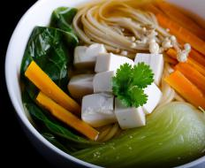 Enoki mushrooms are good additions to vegetarian soups.