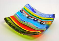 A colorful dish made by a Venetian glass maker.