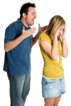 A man shouting at a woman.