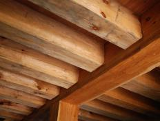 View of second story floor joists from below.