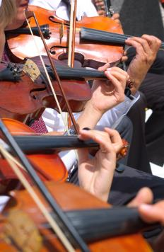 Baroque orchestras feature violins.