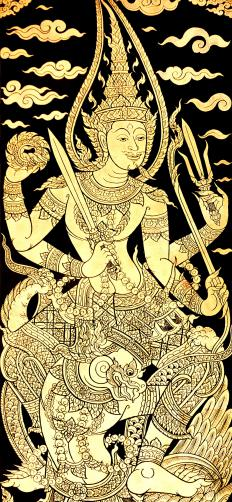 Prithvi is often associated with the god Vishnu, although she has a different role in different belief systems.