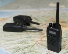 Walkie talkies may be used to communicate with others over long distances.