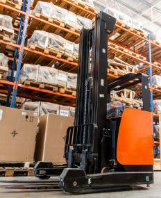 The small, electric-powered forklifts used in warehouses are typically not equipped to run on rough terrain.