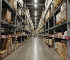 Warehouses are typically stocked and unloaded with the help of narrow forklifts that can navigate the building's aisles.