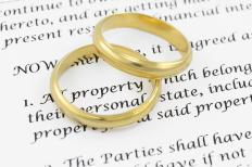 Wedding rings on top of a marriage contract.