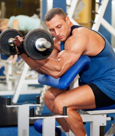 Dumbbells are used to strengthen the biceps and other arm muscles.