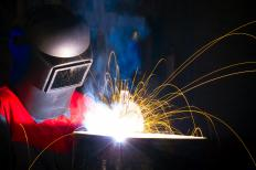 A welding mask protects a welder's eyes and face.