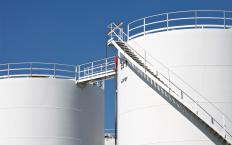 Oil is stored in tanks prior to shipping.