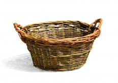 Wicker is popular material for a floor vase.