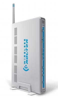 A wireless router, which is often located in a wiring closet.