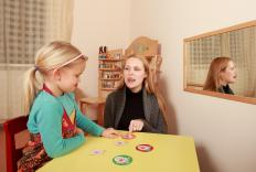 A speech therapist may use articulation worksheets to treat a child with an articulation disorder.