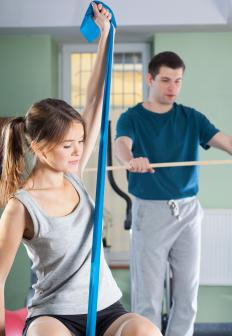Exercise bands stretch -- like giant rubber bands -- to provide resistance when used for working out.
