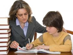Some primary school students benefit from the assistance of a tutor.