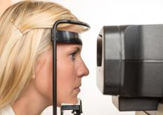 The retinal vein is examined during an eye exam.