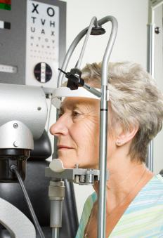 The pressure of fluid behind the cornea is tested in an eye exam.
