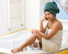 A bath wrap is often more convenient and easier to wear than a simple towel.