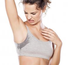 When crystal deodorant is applied to the underarms, some of the mineral is dissolved by the body's sweat.