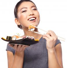 Chopsticks are traditionally associated with Chinese and Japanese cuisine.