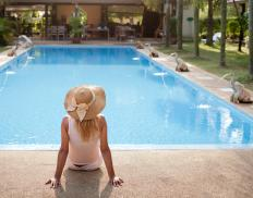 Concrete stamping may be used in the areas that surround swimming pools.