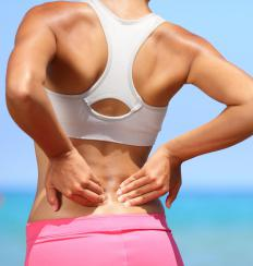 Sciatica pain starts in the lower back and runs past hip muscles.