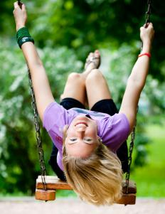 Swinging on a swing is a good example of both potential and kinetic energy.