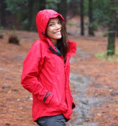 A waterproof jacket is worn in wet weather to help keep people dry.
