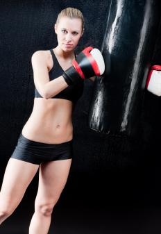 Also known as a heavy bag, a kickboxing bag can be used by boxers and martial artists for strength and power training.