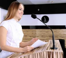 Presenters are often the center of attention when giving a speech.