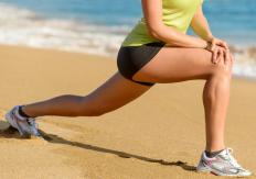 Lunges are a good exercise for toning not only the thigh muscles but also the three gluteus muscles.