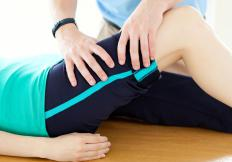 The physical therapist will determine when the patient's muscle strength has improved enough to begin walking exercises.