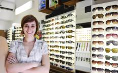 Woman selling sunglasses.