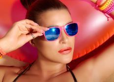 Polarized sunglasses help reduce reflective glare.