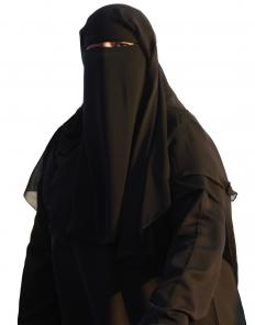 A woman wearing an abaya and a niqab.