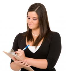 A woman performing an audit.