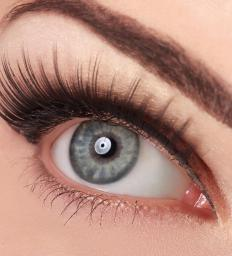 Individual false eyelashes are used to fill in bare spots.