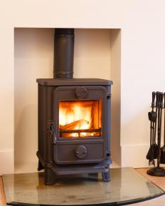 Stove hearths are non-flammable surfaces that surround wood-burning stoves.