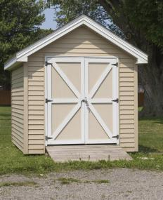 Wooden sheds are a popular form of backyard storage.