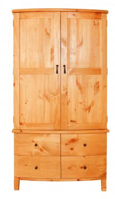 A wardrobe may be used for storing clothing.