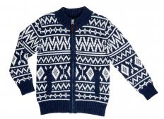 A zip-up knitted sweater made with Fair Isle knitting.